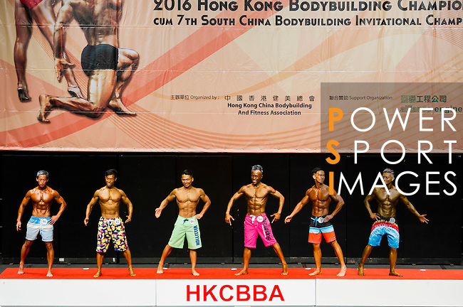 A bodybuilder competes in the Men's Sport Physique 170cm or below (Group A) category during the 2016 Hong Kong Bodybuilding Championships on 12 June 2016 at Queen Elizabeth Stadium, Hong Kong, China. Photo by Lucas Schifres / Power Sport Images