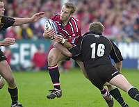 18/05/2002.Sport -Rugby Union- Zurich Championship Quarter final.Gloucester vs Newcastle.James Simpson-Daniel on the break..[Mandatory Credit, Peter Spurier/ Intersport Images].