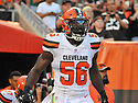 CLEVELAND, OH - AUGUST 18, 2016: Linebacker Demario Davis #56 of the Cleveland Browns yells as he runs out of the tunnel prior to a preseason game on August 18, 2016 at FirstEnergy Stadium in Cleveland, Ohio. Atlanta won 24-13. (Photo by: 2016 Nick Cammett/Diamond Images) *** Local Caption *** Demario Davis