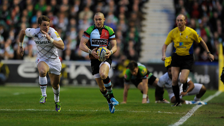 Mike Brown of Harlequins breaks down the wing during the Aviva Premiership match between Harlequins and Leicester Tigers at the Twickenham Stoop on Friday 18th April 2014 (Photo by Rob Munro)
