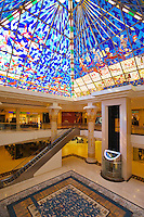 Dubai.  Atrium in new extension to Wafi Mall, designed in an Egyptian style with stained glass roof illustrating ancient Egyptian civilisation.  Dubai?s most prestigious shopping mall..