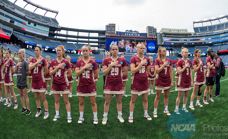 FOXBORO, MA - MAY 28: The Boston College Eagles during the national anthem ahead of the Division I Women's Lacrosse Championship held at Gillette Stadium on May 28, 2017 in Foxboro, Massachusetts. (Photo by Ben Solomon/NCAA Photos via Getty Images)