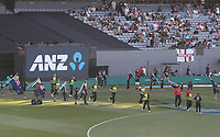 The Black Caps and Australia take the field during the Black Caps v Australia international T20 cricket match at Eden Park in Auckland, New Zealand. 16 February 2018. Copyright Image: Peter Meecham / www.photosport.nz