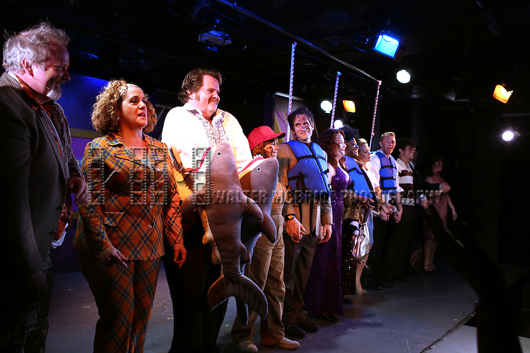 Seth Rudetsky and Cast during the Off-Broadway Opening Night Performance Curtain Call for 'Disaster!' at the St. Luke's Theatre on November 4, 2013  in New York City.