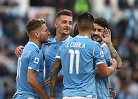 Football, Serie A: S.S. Lazio - Udinese Olympic stadium, Rome, December 1, 2019. <br /> Lazio's Ciro Immobile (l) celebrates after scorig his second goal in the match with his teammates during the Italian Serie A football match between S.S. Lazio and Udinese at Rome's Olympic stadium, Rome on December 1, 2019.<br /> UPDATE IMAGES PRESS/Isabella Bonotto