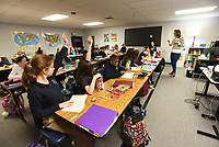 NWA Democrat-Gazette/FLIP PUTTHOFF<br /> Kelly Bankston teaches a literature class Wednesday Jan. 10 2018 at Northwest Arkansas Classical Academy in Bentonville. The school recently received a 10-year extension on its charter.
