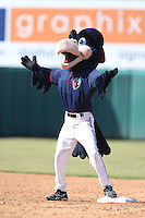 Lancaster JetHawks mascot Kaboom during a game against the Lake Elsinore Storm at The Hanger on April 6, 2014 in Lancaster, California. Lancaster defeated Lake Elsinore, 7-4. (Larry Goren/Four Seam Images)