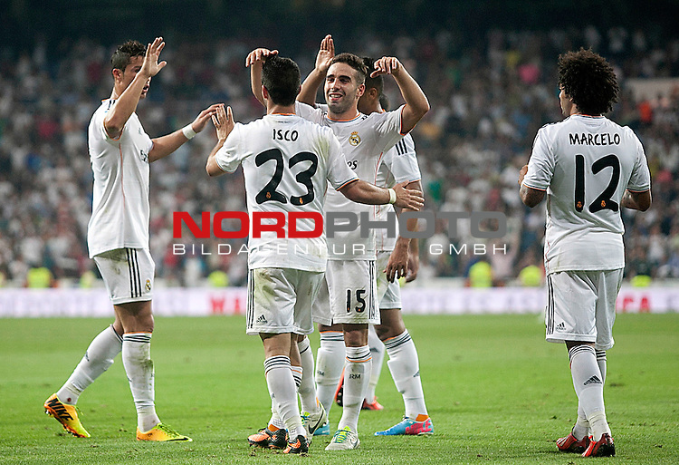 Real Madrid's Cristiano Ronaldo, Isco, Daniel Carvajal and Marcelo Vieira celebrate goal during La Liga match.August 18,2013. Foto © nph / Acero)
