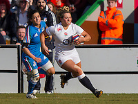Victoria Fleetwood in action, England Women v Italy Women in Women's 6 Nations Match at Twickenham Stoop, Twickenham, England, on 15th February 2015. Final score 39-7.