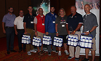 NWA Democrat-Gazette/CARIN SCHOPPMEYER (from left) and Matt Mawby, Fincher board members, stand with the group's Hydration Heroes, Ryan Roughley, Adam Remillard, LouAnn Hays, Darren Hotelling and Preston Early at the Beat the Heat luncheon July 25 at the John Q. Hammons Center in Rogers.
