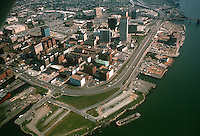 1975 October..Redevelopment.Downtown South (R-9)..WATERFRONT AERIAL.LOOKING EAST...NEG#.NRHA# 5109..
