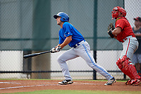 Toronto Blue Jays shortstop Kevin Smith (10) at bat during an Instructional League game against the Philadelphia Phillies on September 30, 2017 at the Carpenter Complex in Clearwater, Florida.  (Mike Janes/Four Seam Images)