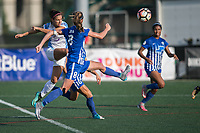 Allston, MA - Saturday August 19, 2017: Alex Morgan, Julie King during a regular season National Women's Soccer League (NWSL) match between the Boston Breakers and the Orlando Pride at Jordan Field.
