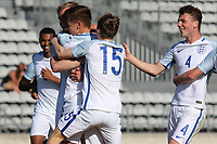 England players congratulate Harvey Barnes after scoring their third goal during England Under-18 vs Scotland Under-20, Toulon Tournament Semi-Final Football at Stade Parsemain on 8th June 2017
