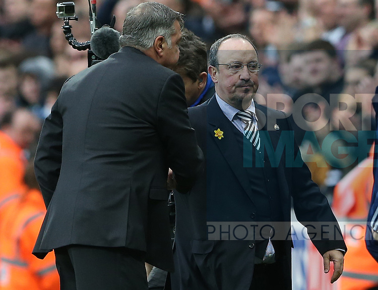 Newcastle United's manager Rafael Benitez, right, is seen with Sunderland's manager Sam Allardyce, left, at the end of the Barclays Premier League match at St James' Park Stadium. Photo credit should read: Scott Heppell/Sportimage