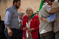 Iole Mancini (Antifascist Partizan. Member of the Partigiani: the Italian Resistance during WWII).<br /> <br /> Rome, 25/04/2018. Today, to mark the 73rd Anniversary of the Italian Liberation from nazi-fascism ('Liberazione'), ANED Roma & ANPI Roma (National Association of Italian Partizans) held a march ('Corteo') from Garbatella to Piazzale Ostiense where a rally took place attended by Partizans, Veterans and politicians – including the Mayor of Rome and the President of Lazio's Region. From the organisers Facebook page:<<For the 25th of April, the 73rd Anniversary of the Liberation of Italy from nazi-fascism, while facing new threats to the world peace, it is necessary to remember that the Fight for Liberation triggered the greatest, positive, 'break' of the whole modern age of the Italian history. The Fight for the Liberation was supported by a great solidarity of the people. The memory of those who in the partizan struggle, in the camps of imprisonment, internment or extermination, opposed - even until the sacrifice of life - the dictatorship, the greed of territorial conquests, crazy ideologies of race supremacy, constitutes concrete warning against any attempt to undermine the foundations of the free institutions born of the Resistance. Memory is not an instrument of hatred or revenge, but of unity in a spirit of harmony without discriminations...<br /> (For the full caption please read the PDF attached at the the beginning of this story).<br /> <br /> For more info please click here: https://bit.ly/2vOIfNf & https://bit.ly/2r4iJy3 & http://www.anpi.it<br /> <br /> For the Wikipedia's page of the 'Liberazione' please click here: https://en.wikipedia.org/wiki/Liberation_Day_(Italy)<br /> <br /> For a Video of the event by Radio Radicale please click here: https://www.radioradicale.it/scheda/539534/manifestazione-promossa-dallanpi-in-occasione-della-73a-festa-della-liberazione