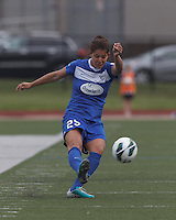Boston Breakers midfielder Jo Dragotta (25) passes the ball.  In a National Women's Soccer League Elite (NWSL) match, Sky Blue FC (white) defeated the Boston Breakers (blue), 3-2, at Dilboy Stadium on June 16, 2013.