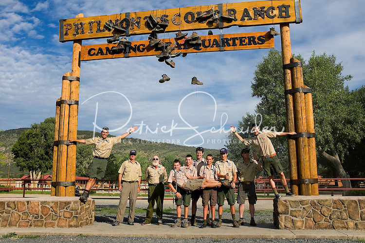 Photo story of Philmont Scout Ranch in Cimarron, New Mexico, taken during a Boy Scout Troop backpack trip in the summer of 2013. Photo is part of a comprehensive picture package which shows in-depth photography of a BSA Ventures crew on a trek. In this photo,  a proud BSA Venture crew hangout as a group before departing the Philmont Scout Ranch after completing their crew trek in the backcountry. <br /> <br /> Photo by travel photograph: PatrickschneiderPhoto.co