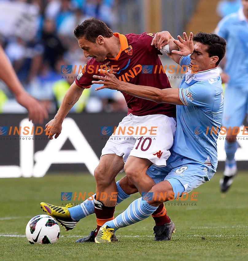 Francesco Totti Roma, Hernanes Lazio .Roma 26/05/2013 Stadio Olimpico.Roma Lazio.Football Calcio 2012/2013 .Calcio Finale Coppa Italia / Italy Cup Final.Foto Andrea Staccioli Insidefoto