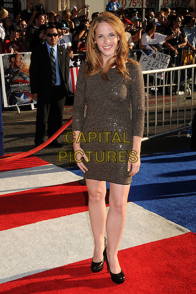"Katie Leclerc.Premiere of ""Captain America: The First Avenger"" held at The El Capitan Theatre in Hollywood, California, USA..July 19th, 2011.full length brown dress sequins sequined.CAP/ADM/BP.©Byron Purvis/AdMedia/Capital Pictures."