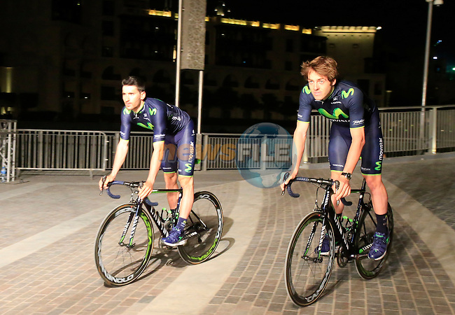 Movistar Team during the opening ceremony of the inaugural Dubai Tour 2014 held in Emaar Burj Park at the foot of the Burj Khalifa Tower, Dubai. 4th February 2014.<br /> Picture: Eoin Clarke www.newsfile.ie