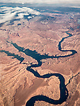 Lake Powell and the Colorado River, Utah, USA Fly-over County-from the window seat of Southwest #1882 from SMF to DAL, September 2016<br /> <br /> To the left center, Bullfrog Bay across the lake from Halls Crossing. To the top, the Henry Mountains, last to be named in the lower 48 states by John Wesley Powell in the late 1860s.