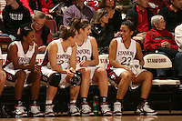 19 January 2006: Candice Wiggins, Krista Rappahahn, Brooke Smith, and Rosalyn Gold-Onwude during Stanford's win over the University of California Golden Bears at Maples Pavilion in Stanford, CA.