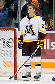 Tyler Hirsch (University of Minnesota - Bloomington, MN) lines up. The University of Minnesota Golden Gophers defeated the Michigan State University Spartans 5-4 on Friday, November 24, 2006 at Mariucci Arena in Minneapolis, Minnesota, as part of the College Hockey Showcase.