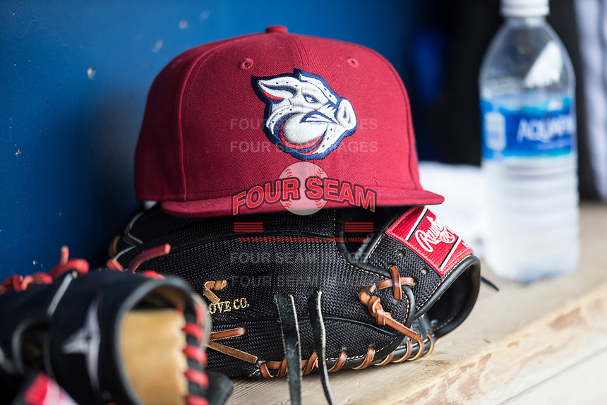 Lehigh Valley IronPigs hat on April 30, 2017 at Fifth Third Field in Toledo, Ohio. (Andrew Woolley/Four Seam Images)