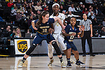 Katarina Vuckovic (10) and Cha'Ron Sweeney (13) of the Georgia Tech Yellow Jackets box out Ona Udoh (44) of the Wake Forest Demon Deacons during first half action at the LJVM Coliseum on January 22, 2017 in Winston-Salem, North Carolina.  The Demon Deacons defeated the Yellow Jackets 70-65 in overtime.  (Brian Westerholt/Sports On Film)
