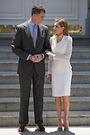 Prince Felipe of Spain and Princess Letizia of Spain receive Mexico´s President Enrique Pena Nieto and his wife Angelica Rivera at Zarzuela Palace in Madrid, Spain. June 09, 2013. (ALTERPHOTOS/Victor Blanco)