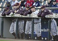 03 April 2009:  Arizona State players watch from the top of the dug out against Washington at Safeco Field in Seattle, WA.  Arizona State won 3-1 over Washington.