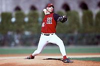 Harvard Crimson pitcher Ben Crockett during a game at O'Donnell Field in Boston, Massachusetts during the 2001 season.  (Ken Babbitt/Four Seam Images)
