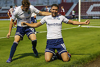 Dan Rowe of Wycombe Wanderers (right) celebrates scoring the opening goal with Dayle Southwell of Wycombe Wanderers (left) during the The Checkatrade Trophy match between Northampton Town and Wycombe Wanderers at Sixfields Stadium, Northampton, England on 30 August 2016. Photo by David Horn / PRiME Media Images.