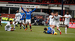09.12.2018 Dundee v Rangers: Nathan Ralph fouls Daniel Candeias
