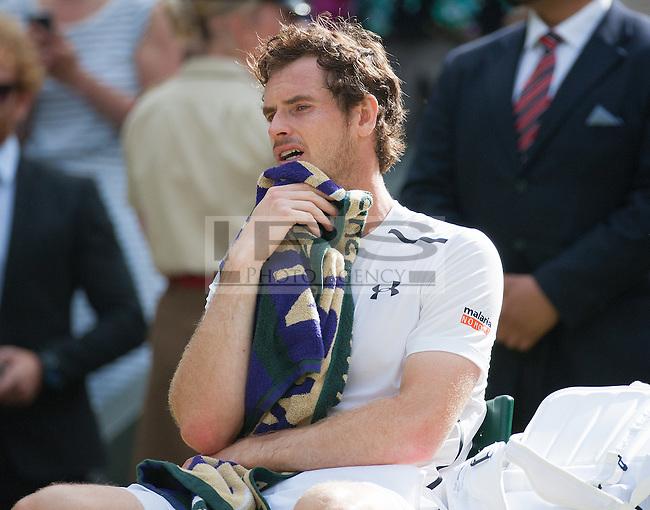 Andy Murrey (GBR) breaks down after winning the mens tinal, Wimbledon Championships 2016, Day Fourteen, All England Lawn Tennis & Croquet Club, Church Rd, London, United Kingdom - 10th July 2016