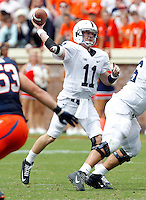 Penn State quarterback Matthew McGloin (11) throws the ball during an NCAA college football game against Virginia in Charlottesville, Va. Virginia defeated Penn State 17-16.