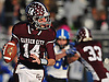 Colin Hart #14, Garden City quarterback, looks for an open receiver during the Nassau County varsity football Conference II semifinals against Long Beach at Hofstra University on Saturday, Nov. 12, 2016. Garden City won by a score of 36-8.