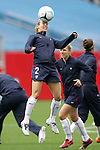 14 April 2007: United States defender Heather Mitts, pregame. The United States Women's National Team defeated the Women's National Team of Mexico 5-0 at Gillette Stadium in Foxboro, Massachusetts in an international friendly game.