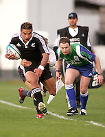 New Zealand winger Kade Poki makes ground down the left wing during the Division A semi final at Ravenhill. Result New Zealand 36 Wales 12.