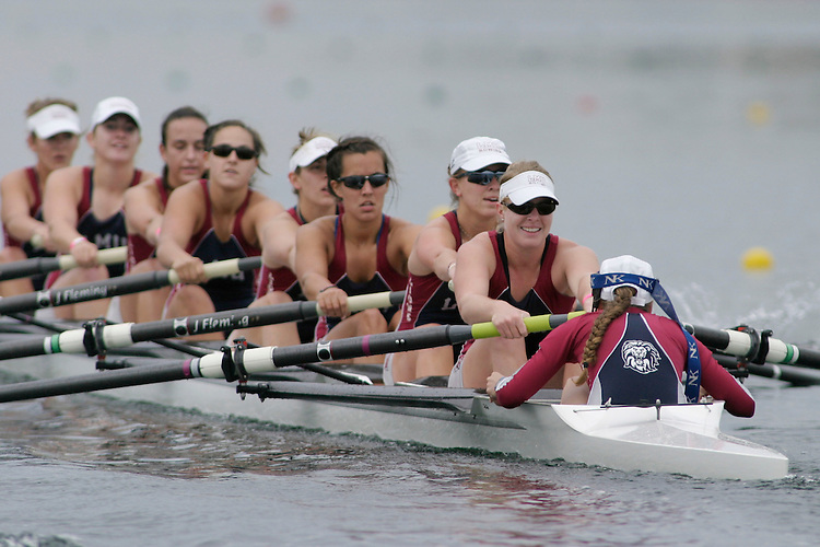 GOLD RIVER, CA - May 1:  Chris Erhart, Adrienne Lindstrom, Sydney Swanson, Michelle Herrerias, Becky Nolan, Shannon Craig, Katrina Regan, Bettina Messerli, and coxswain Kayla Pietruszka during the West Coast Conference Rowing Championships at Lake Natoma on May 1, 2009 in Gold River, California.