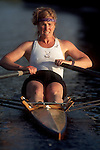 Rowing, Women's sports, Woman rowing single racing shell, Seattle, Washington,