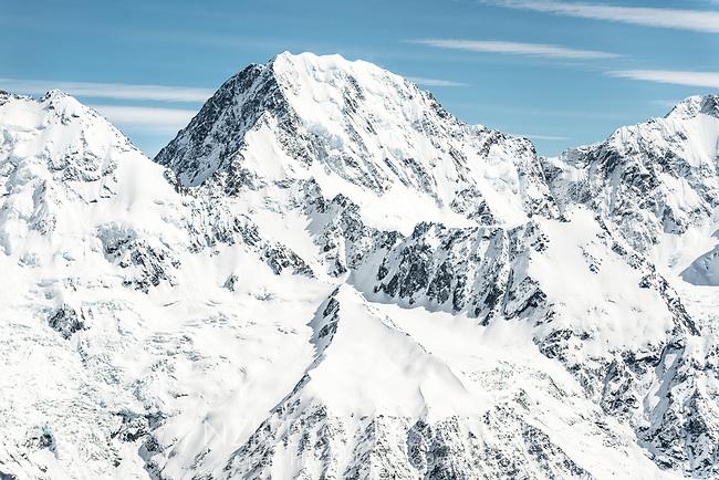 Mt. Darwin 2952m of Malte Brun Range in Southern Alps, Aoraki Mount Cook National Park, UNESCO World Heritage Area,  Mackenzie Country, New Zealand, NZ