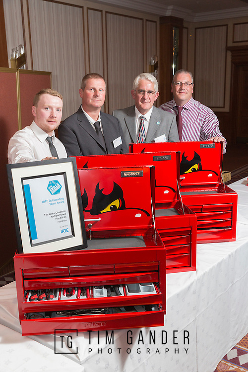 17/07/2015 The IRTE Skills Challenge 2015 prize-giving takes place at The National Motorcycle Museum, Birmingham. IRTE Outstanding Team Award goes to FirstGroup team Andrew  Howie, Tim Laws-Chapman and Ray Silcox with Colin North (3rd from left) representing Teng Tools.