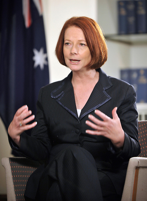 Julia Gillard, Australia's prime minister, speaks during an interview at Parliament House in Canberra, Australia, on Thursday, March 3, 2011. Photographer: Mark Graham
