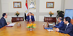 Egyptian President Abdel Fattah al-Sisi meets with Mustafa Madbouli, Prime Minister in Cairo, Egypt on June 26, 2018. Photo by Egyptian President Office