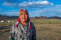 Mongolia, Bayan-Ulgii, Ulgii, Altai Mountains. Woman.