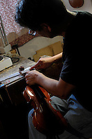"Il maestro Carlos Roberts, liutaio del Consorzio Liutai ""Antonio Stradivari"", mentre costruisce un  violino, nel suo laboratorio. .The master Carlos Roberts while building a violin in his laboratory.The Consortium of Violinmakers.."