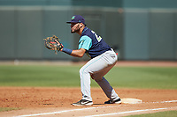 Lynchburg Hillcats first baseman Jonathan Laureano (23) on defense against the Winston-Salem Rayados at BB&T Ballpark on June 23, 2019 in Winston-Salem, North Carolina. The Hillcats defeated the Rayados 12-9 in 11 innings. (Brian Westerholt/Four Seam Images)