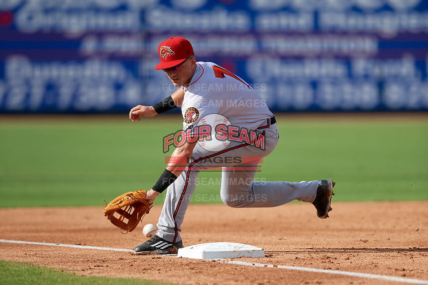 Florida Fire Frogs third baseman Jordan Rodgers (7) fields a foul ball during a game against the Clearwater Threshers on June 1, 2018 at Spectrum Field in Clearwater, Florida.  Clearwater defeated Florida 2-0 in a game that was started on May 19th but called in the fifth inning due to weather.  (Mike Janes/Four Seam Images)